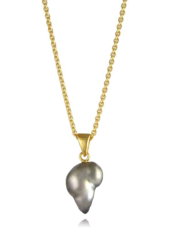 Black Pearl Necklace Gold Vermeil #2