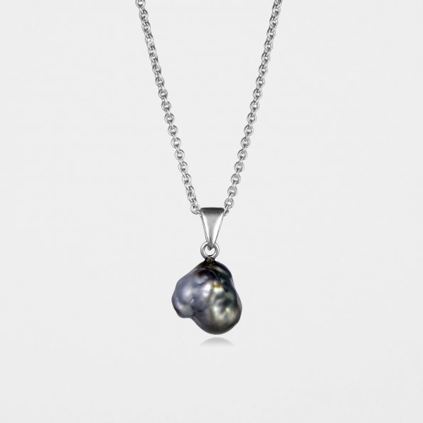 Black Pearl Necklace Silver #2