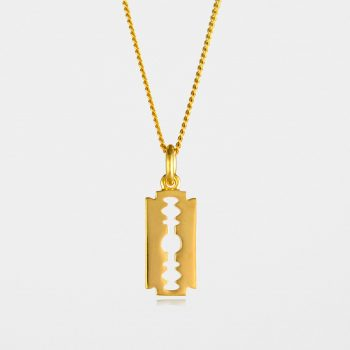 Small Razor Blade Necklace Gold Vermeil