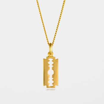 Small Razor Blade Necklace Gold Vermeil