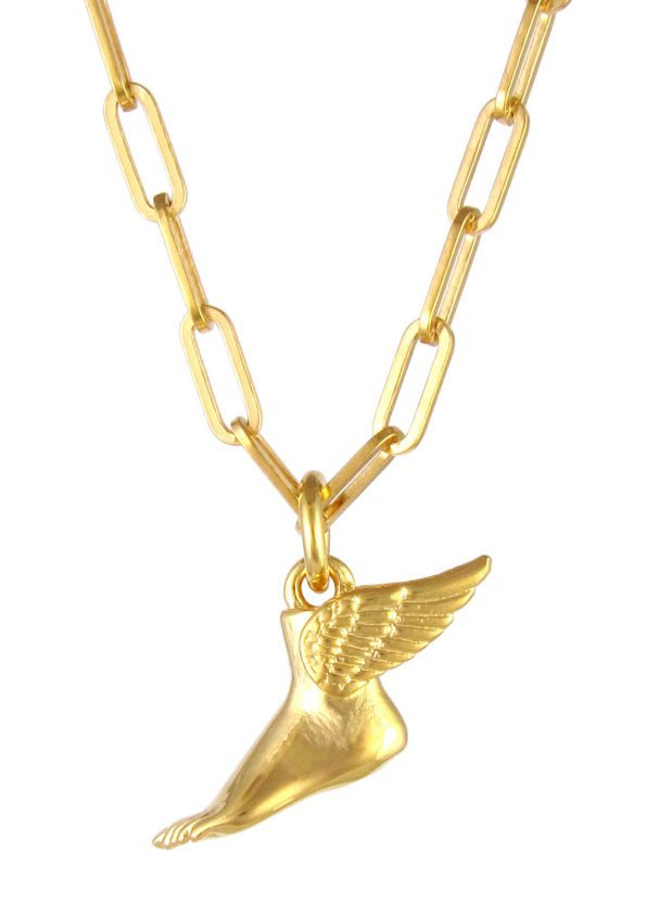 Winged Foot Necklace Square Chain Gold Vermeil