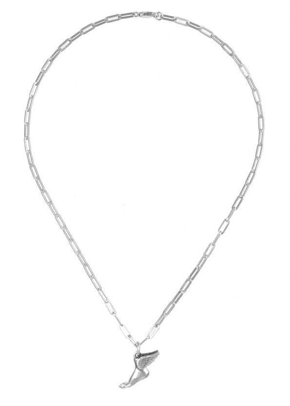 Winged Foot Necklace Square Chain Silver