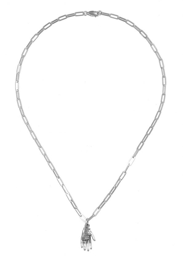 Small Hand of Mystery Necklace Square Chain Silver