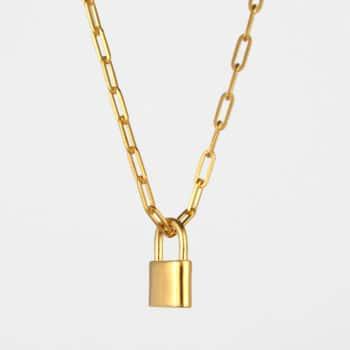 Square Chain Padlock Necklace Gold Vermeil