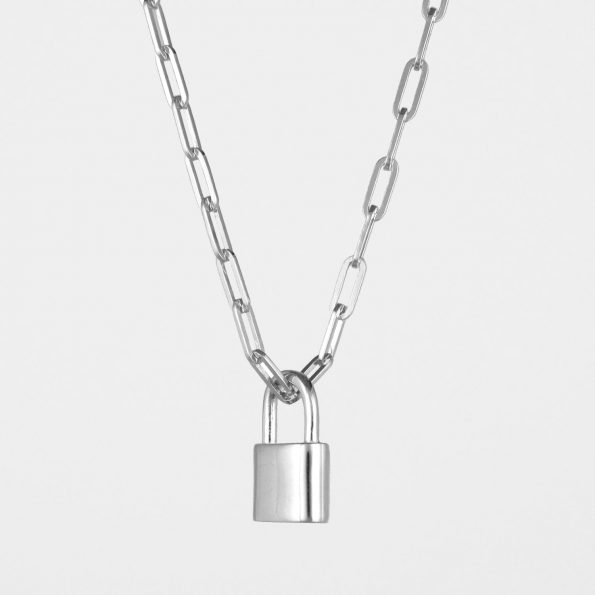 Small Padlock Necklace Square Chain Silver
