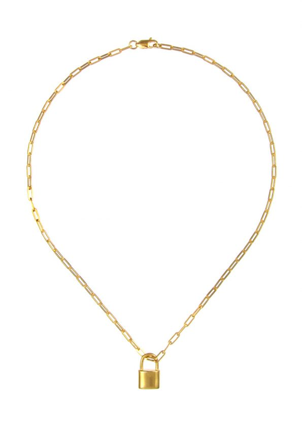 Small Padlock Necklace Square Chain Gold Vermeil