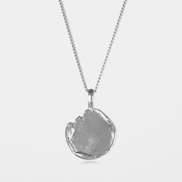 Freeform Disc Necklace Silver