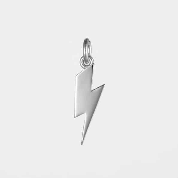 Short Lightning Bolt Pendant Silver