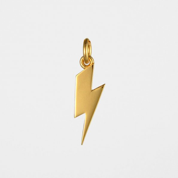 Short Lightning Bolt Pendant Gold Vermeil