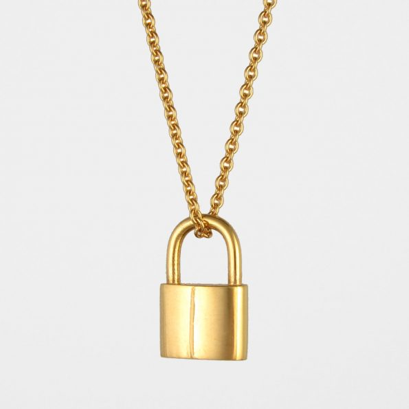 Large Padlock Necklace Gold Vermeil