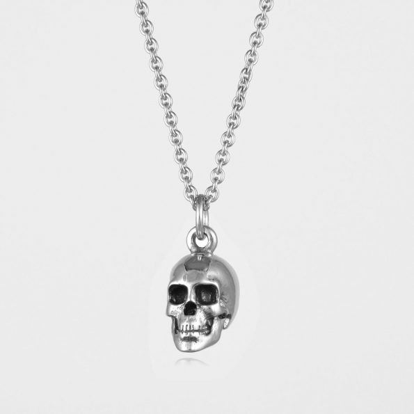 Large Skull Necklace Silver