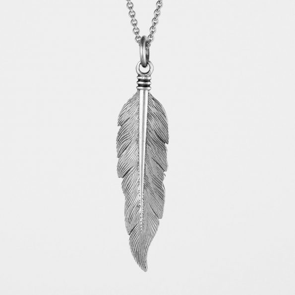 Large Feather Necklace Silver