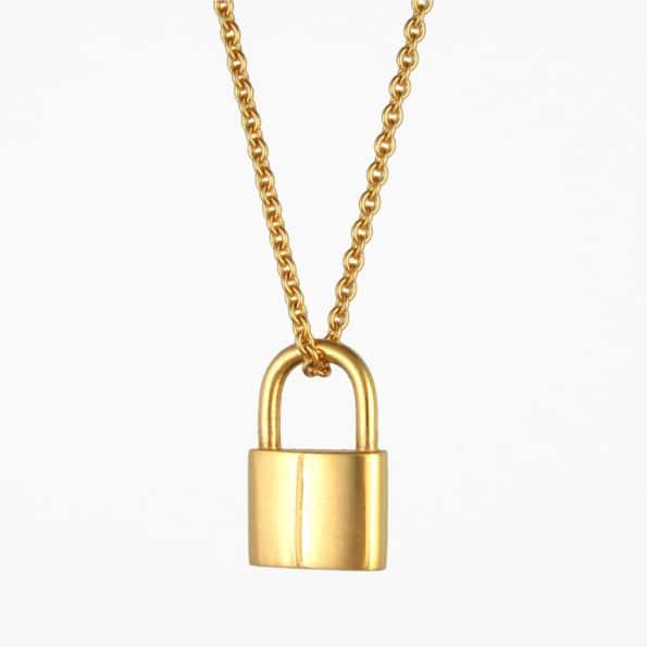 Large Padlock Necklace Gold Vermeil