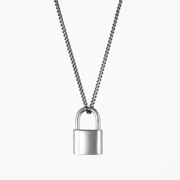 Small Padlock Necklace Oxidised Silver