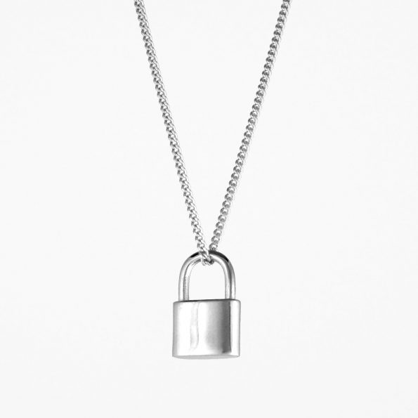 Small Padlock Necklace Silver