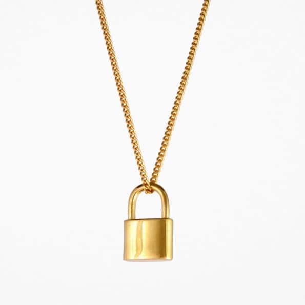 Small Padlock Necklace Gold Vermeil