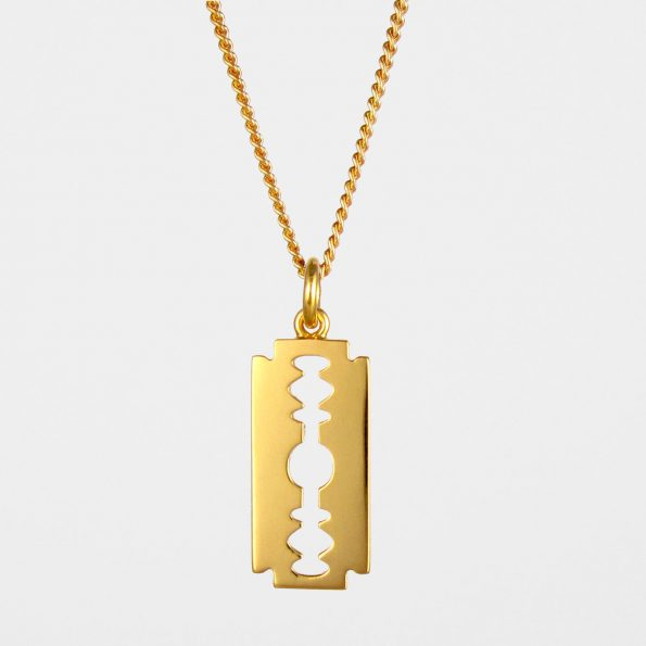 Large Razor Blade Necklace  Gold Vermeil