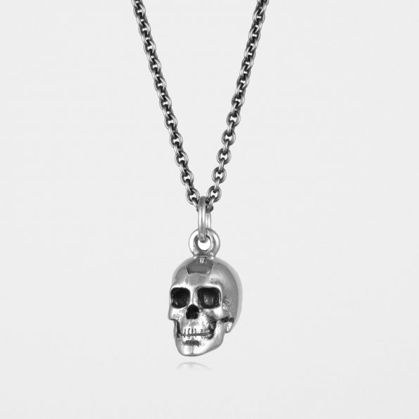 Large Skull Necklace Oxidised Silver