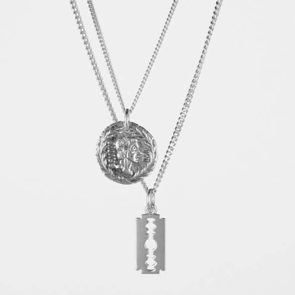 Brutus Coin + Razor Necklace Set Silver
