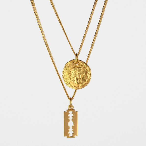 Brutus Coin + Razor Necklace Set Gold Vermeil