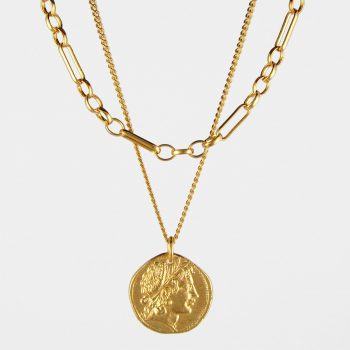 Demeter Coin and Figaro Chain Necklace Set Gold Vermeil