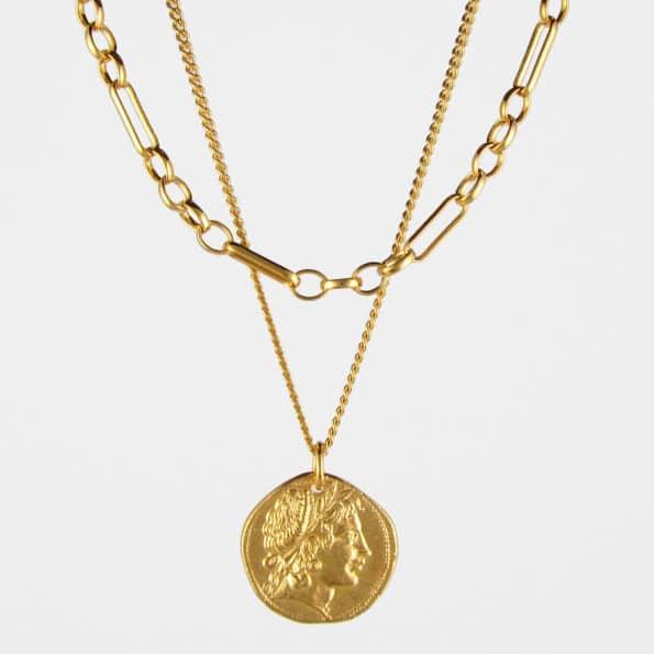Demeter Coin + Figaro Chain Necklace Set Gold Vermeil