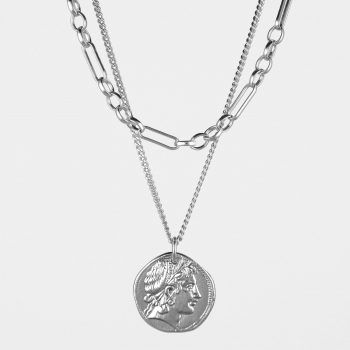 Demeter Coin and Figaro Chain Necklace Set Silver