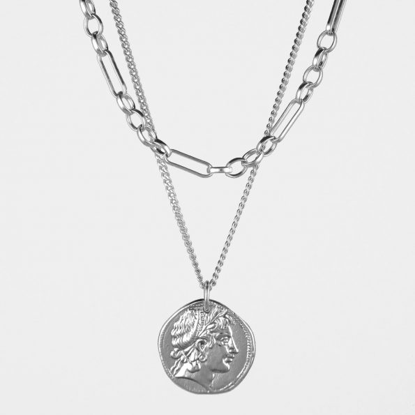 Demeter Coin + Figaro Chain Necklace Set Silver