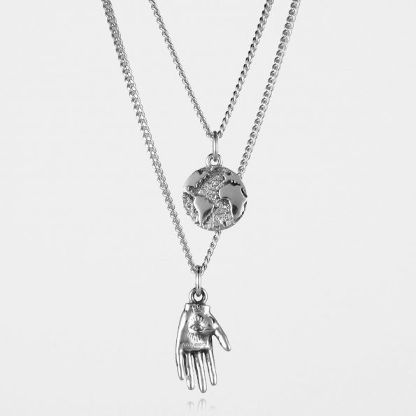 Hand + Earth Necklace Set Silver