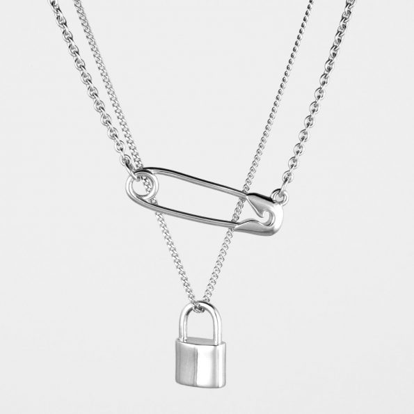 Safety Pin + Padlock Necklace Set Silver