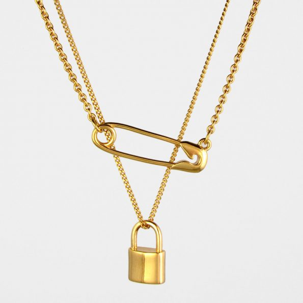 Safety Pin + Padlock Necklace Set Gold Vermeil