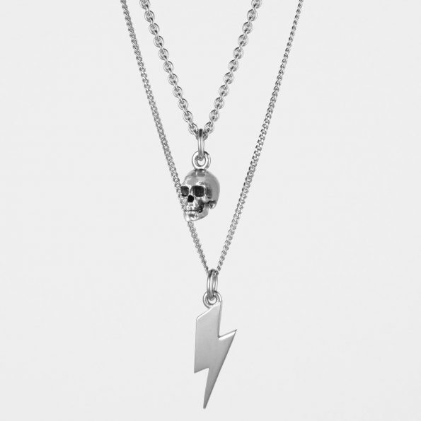 Skull + Lightning Necklace Set Silver