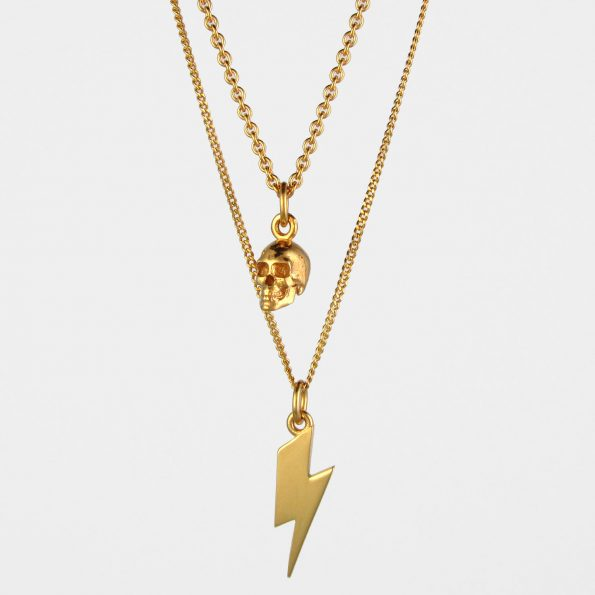 Skull + Lightning Necklace Set Gold Vermeil