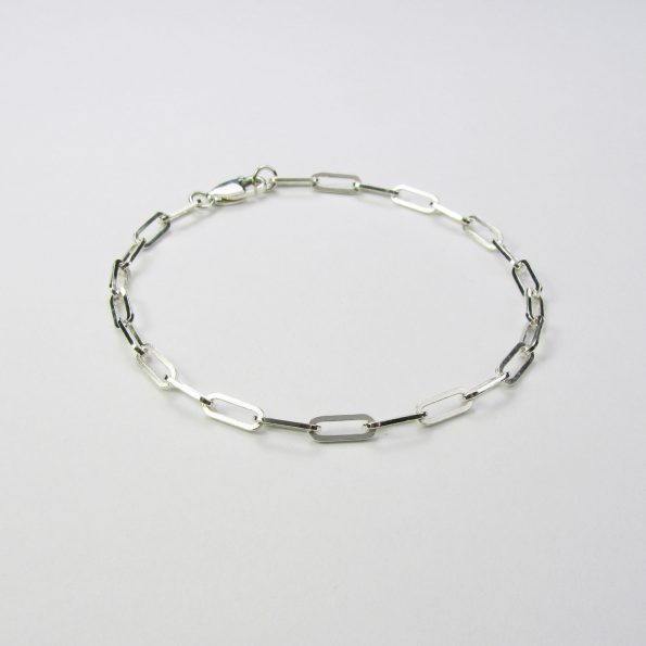 Square Trace Chain Bracelet Sterling Silver