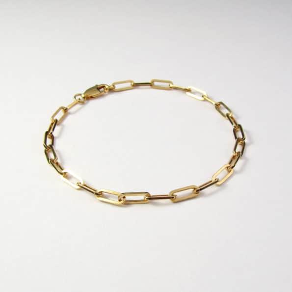 Square Trace Chain Bracelet Gold Vermeil