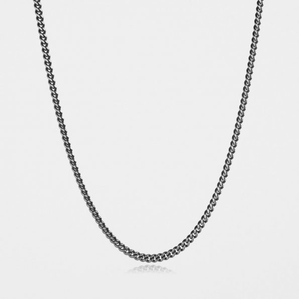 Heavy Curb Chain Oxidised Silver