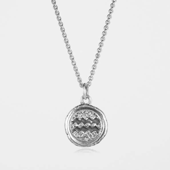 Aquarius Star Sign Necklace Silver
