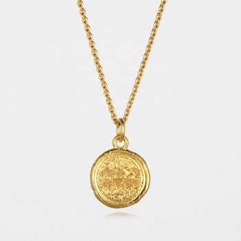 Aquarius Star Sign Necklace Gold Vermeil