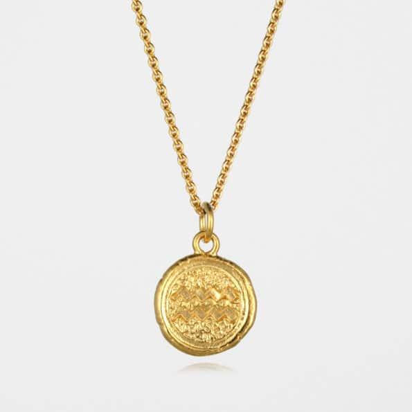 Aquarius Star Sign Necklace Gold Vermeil