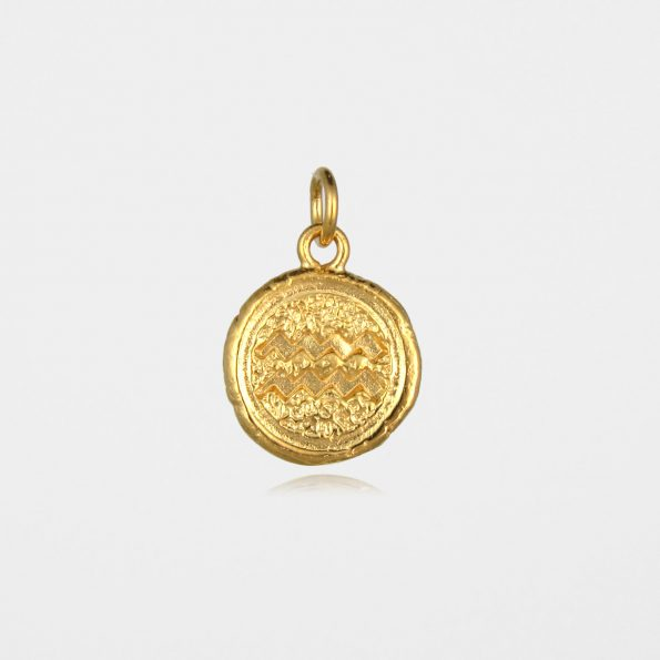 Aquarius Star Sign Pendant Gold Vermeil