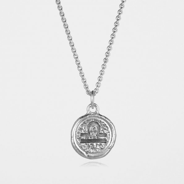 Libra Star Sign Necklace Silver