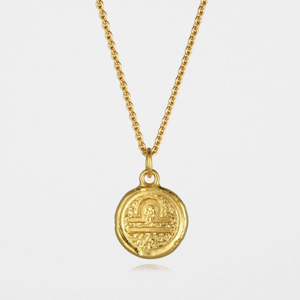Libra Star Sign Necklace Gold Vermeil