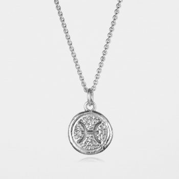 Pisces Star Sign Necklace Silver