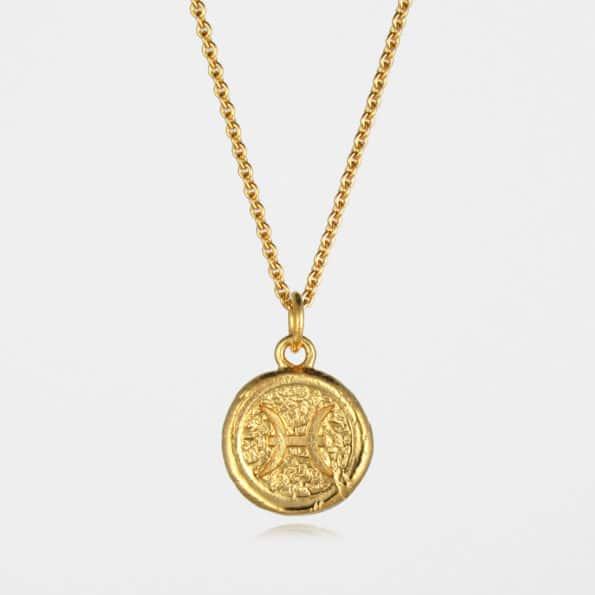 Pisces Star Sign Necklace Gold Vermeil