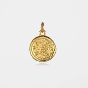 Pisces Star Sign Pendant Gold Vermeil