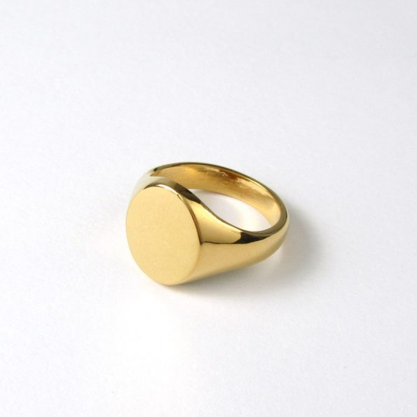 Lightweight Oval Signet Ring Gold Vermeil