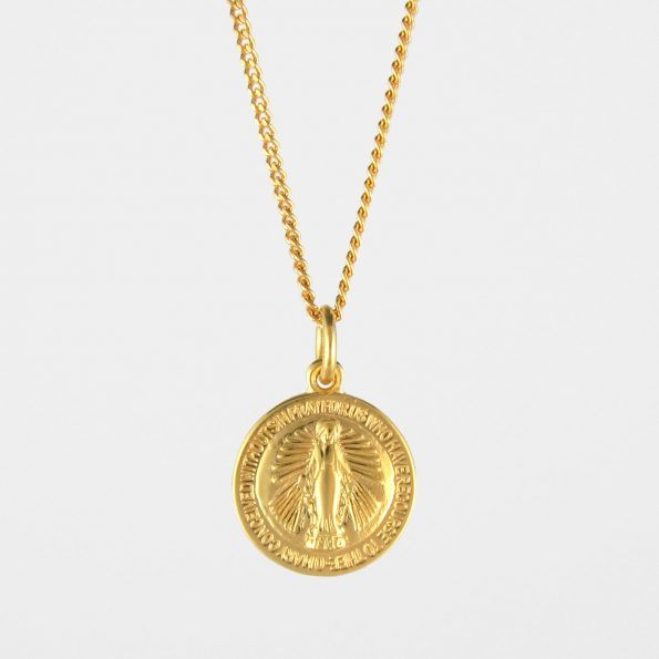 Round Miraculous Medal Necklace Gold Vermeil