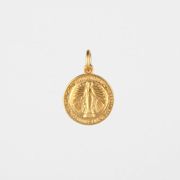 Round Miraculous Medal Gold Vermeil