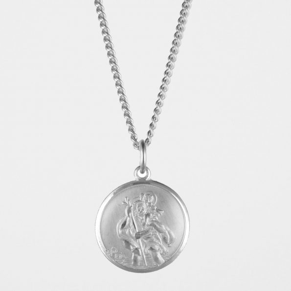 Large St Christopher Necklace Silver