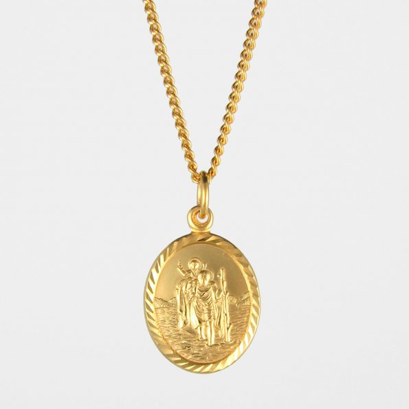 Oval St Christopher Necklace Gold Vermeil